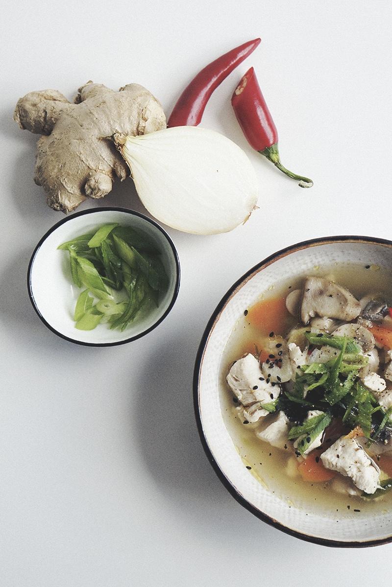 asiatisk kyllinge-suppe nem